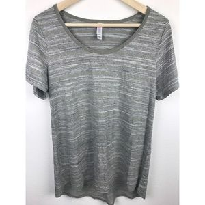 Lularoe Simply Comfortable Shirt Gray Stripes